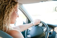 Portrait of person driving car Royalty Free Stock Photos