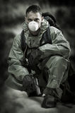Portrait of person in gas mask. Soldier on war stock photos