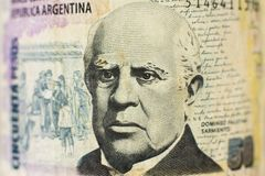 Portrait on 50 Peso argentinian money bill stock photography