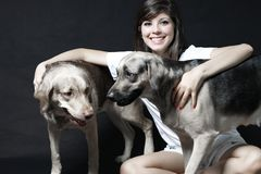 Portrait with the pets Stock Photo