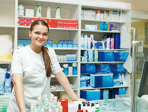 Portrait of pharmacist at the drugstore Royalty Free Stock Photography