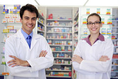 Portrait of pharmacists at pharmacy royalty free stock photo