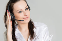 Portrait of phone operator with headset Stock Images