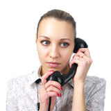 Portrait of phone talking woman Stock Photography