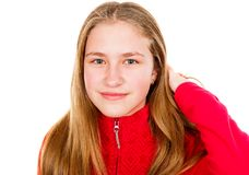 Beautiful young girl. Portrait photo of beautiful blond young girl on isolated white background Stock Photography