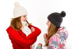 Young sisters arguing. Portrait photo of beautiful young sisters arguing royalty free stock images