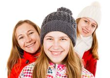 Happy young sisters. Portrait photo of cute smiling young sisters Royalty Free Stock Photography