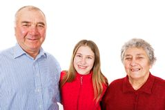 Elderly couple and granddaughter. Portrait photo of senior couple and granddaughter Stock Image