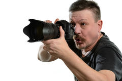 Portrait photographer with a camera on an isolated background Stock Photos