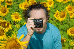 Portrait of Photographer shoots nature Royalty Free Stock Photography