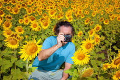 Portrait of Photographer shoots nature Stock Photography