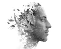 Paintography. Double exposure. Close up of man with strong featu Stock Photography