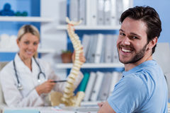 Portrait of physiotherapist and male patient Royalty Free Stock Photography