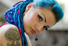 Portrait of pierced teen girl Stock Image