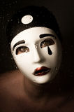 A portrait with Pierrot mask Royalty Free Stock Photography