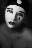 A portrait with Pierrot mask Stock Photography