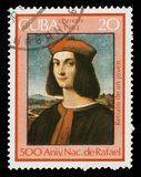 Portrait of Pietro Bembo by Rafael. CUBA - CIRCA 1983: A stamp printed in Cuba shows ` Portrait of Pietro Bembo `, 1505 painting by artist Rafael, series Raffael royalty free stock images