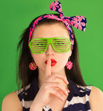 Portrait of pin-up Girl with glasses Royalty Free Stock Photos