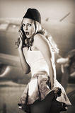 Portrait of pin up girl stewardess royalty free stock photography
