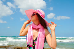 Portrait with a pink hat Royalty Free Stock Image