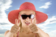 Portrait with pink hat and sunglasses Royalty Free Stock Image