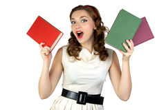 Portrait of the pinup woman with books Stock Photography