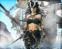 Portrait of a pirate female coming ashore . Royalty Free Stock Photography