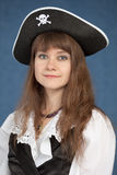 Portrait of pirate girl in black hat Stock Photos