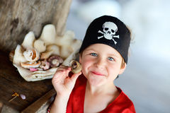 Portrait of playful pirate boy Royalty Free Stock Photography