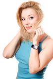 Portrait of a playful pretty blonde Stock Image