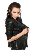 Portrait of playful sexy brunette in black clothes Royalty Free Stock Photo