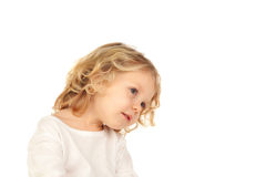 Portrait of playful small kid with long blond hair Royalty Free Stock Photo