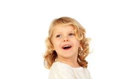 Portrait of playful small kid with long blond hair Stock Image