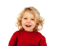 Portrait of playful small kid with long blond hair looking at ca. Mera isolated on white background Royalty Free Stock Images
