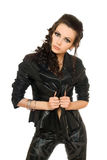 Portrait of playful woman in black clothes Royalty Free Stock Photos