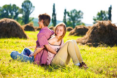 Portrait of playful young love couple having fun Stock Photos