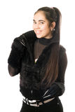 Portrait of playful young woman in gloves Stock Image