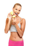 Portrait of a playing woman with apples Stock Photography