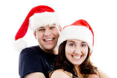 Portrait of pleased couple with christmas hat Stock Image