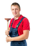 Portrait plumbing plunger 30 years Royalty Free Stock Image