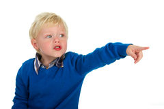 Portrait of a pointing blond little boy Royalty Free Stock Photo
