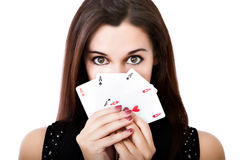 Portrait of a poker player Stock Images