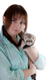Portrait with a polecat Stock Images
