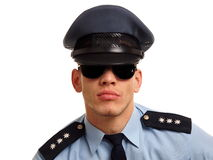 Portrait of policeman at sunglasses Royalty Free Stock Photo