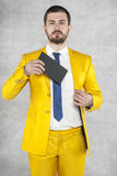 Portrait of a politician with an envelope in his hand Royalty Free Stock Image