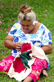 Portrait of Polynesian Pacific Island Tahitian mature woman Aitu Stock Image