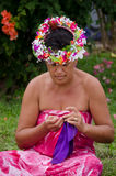 Portrait of Polynesian Pacific Island Tahitian mature woman Aitu Stock Photography