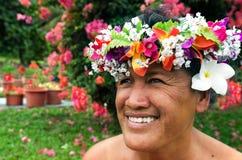 Portrait of Polynesian Pacific Island Tahitian mature woman Aitu Royalty Free Stock Image