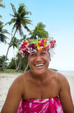 Portrait of Polynesian Pacific Island Tahitian mature woman Aitu Stock Image