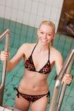 Portrait on Pool Ladder Royalty Free Stock Photo